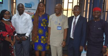 From L-R: Mrs Margret Iroha, Director of Marketing NAN, Mr Okey Madubuko, Member of the Committee, Mrs Abigail Olagbeye, Member of the Committee, Mr Silas Nwoha, Editor-in-Chief of NAN, Mr Collins Osayamwen, Chairman of the Committee and Mr Collins Yakubu-Hammer, NAN reporter during the visit of the Technical Committee on Facility Management in Nigeria to NAN headquarters in Abuja on Wednesday,